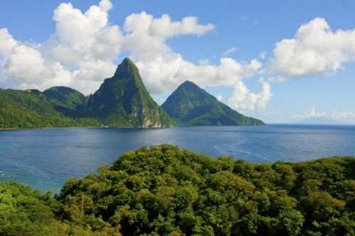 Saint Lucia's World Heritage Site, the Pitons as seen from Jade Mountain